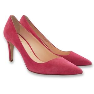 NEW Asymmetric Pointed-Toe Suede Pumps, Cherry Red